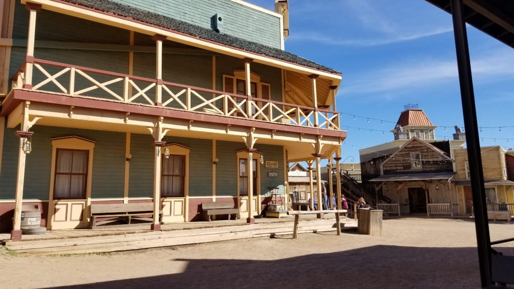Old west hotel building