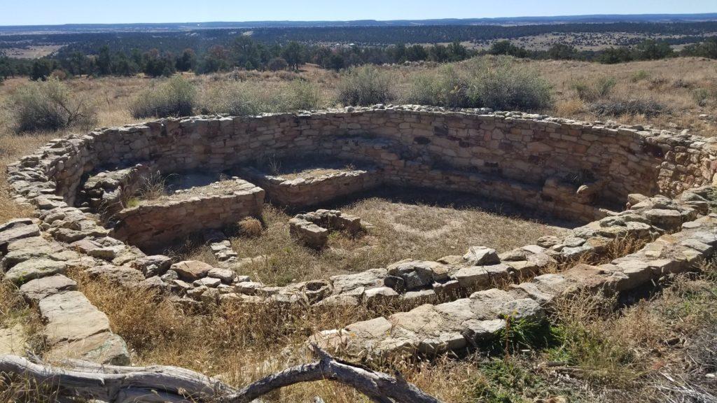Circular stone ruins.