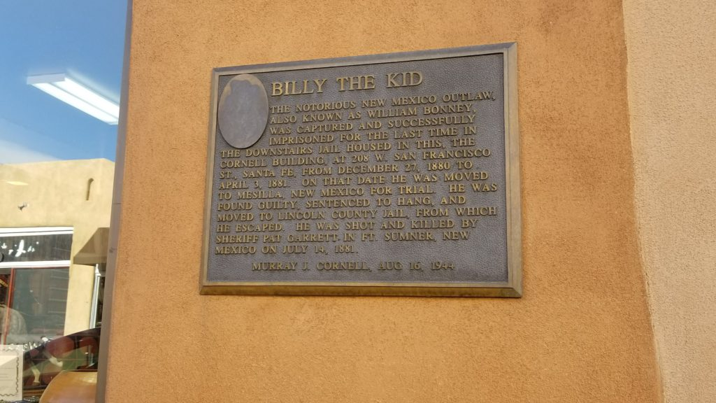 Historical sign about billy the kid