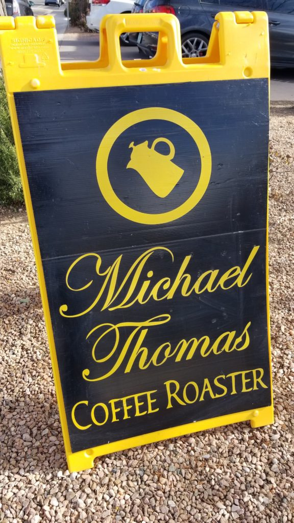 Coffee roaster sign.