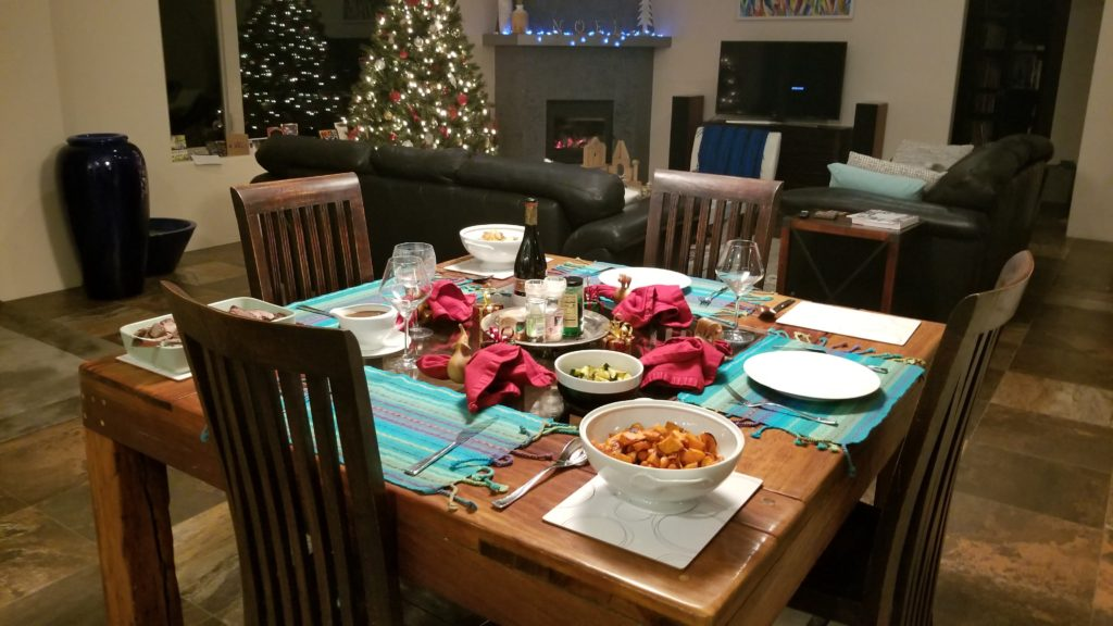 Dinner table set for 4 people.
