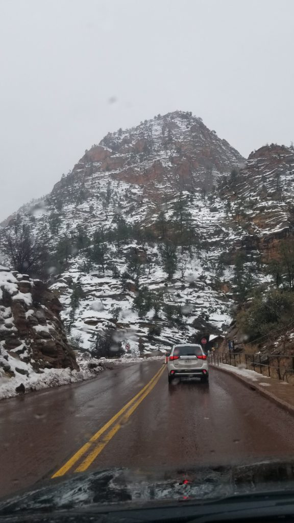 Snow on the mountain roads