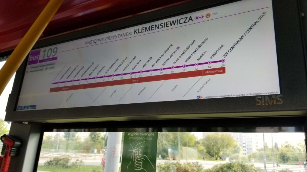 Warsaw bus sign