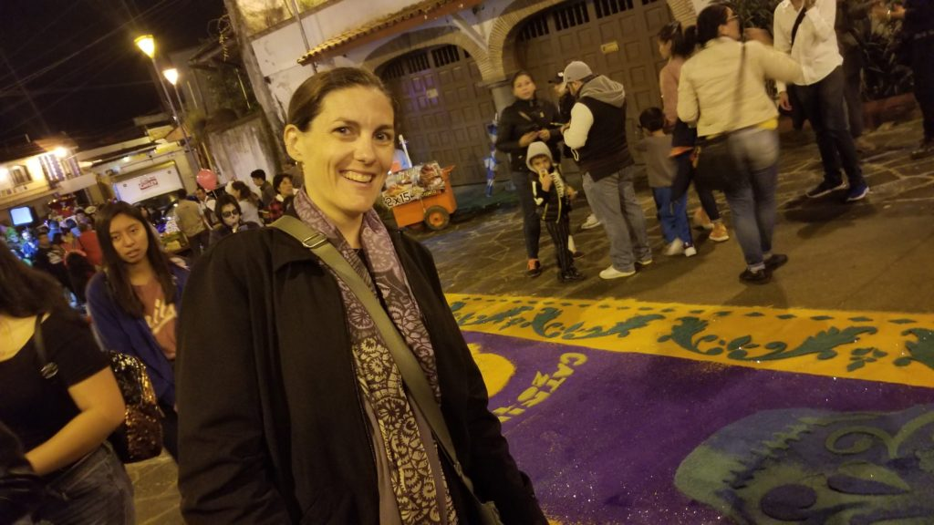 Lis in Xalapa in front of carpet alter on Muertos. Another manifestation!