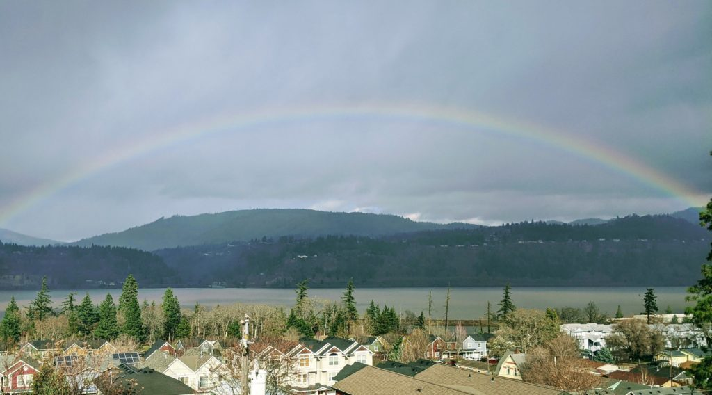 Rainbow over Hood River Oregon